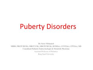 Puberty Disorders