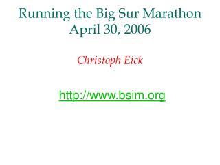 Running the Big Sur Marathon April 30, 2006 Christoph Eick