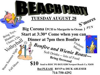 TUESDAY AUGUST 28 Big Corona ( PCH to Margarite to Ocean  ) Start at 3:30* Come when you can