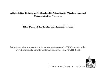 A Scheduling Technique for Bandwidth Allocation in Wireless Personal Communication Networks