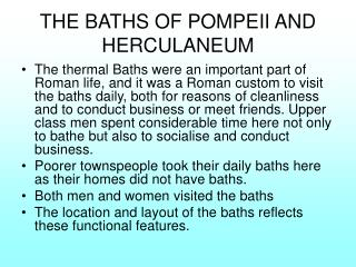 THE BATHS OF POMPEII AND HERCULANEUM