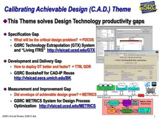 Calibrating Achievable Design C.A.D. Theme