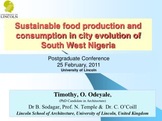Sustainable food production and consumption in city evolution of South West Nigeria