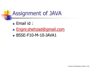 Assignment of JAVA