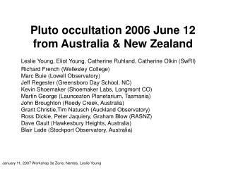 Pluto occultation 2006 June 12 from Australia & New Zealand