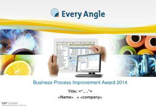 Business Process Improvement Award 2014