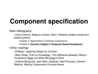 Component specification