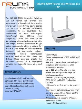 NRLINK  200M  Power line  Wireless 11n AP