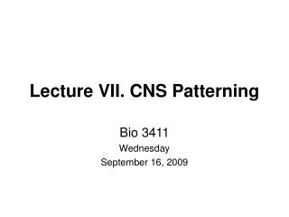 Lecture VII. CNS Patterning