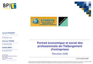 Portrait économique et social des professionnels de l'hébergement d'entreprises Résultats 2008