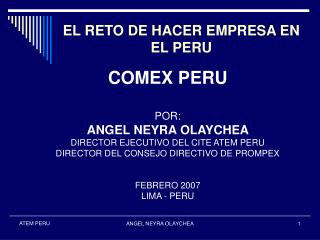 EL RETO DE HACER EMPRESA EN EL PERU