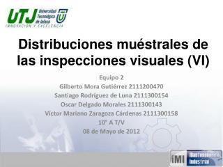 Distribuciones muéstrales de las inspecciones visuales (VI)