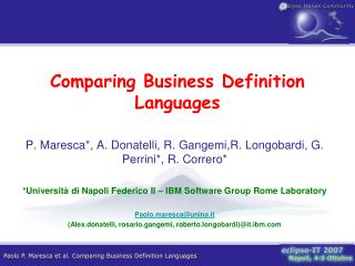 Comparing Business Definition Languages