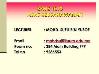 BPME 1013   ASAS KEUSAHAWANAN