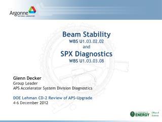 Beam Stability WBS U 1.03.02.02 and SPX Diagnostics WBS U 1.03.03.08
