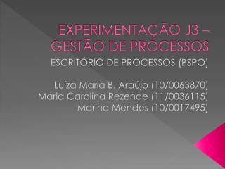 EXPERIMENTAÇÃO J3 – GESTÃO DE PROCESSOS