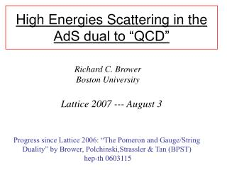 "High Energies Scattering in the AdS dual to ""QCD"""