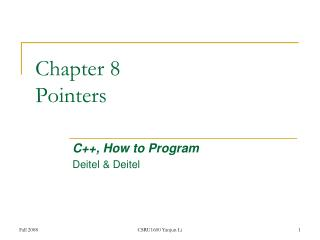 Chapter 8 Pointers
