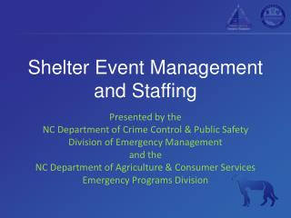 Shelter Event Management and Staffing