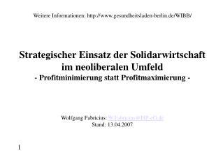 Weitere Informationen: gesundheitsladen-berlin.de/WIBB/