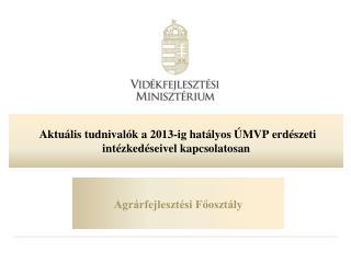 Aktuális tudnivalók  a  2013-ig hatályos ÚMVP erdészeti intézkedéseivel kapcsolatosan