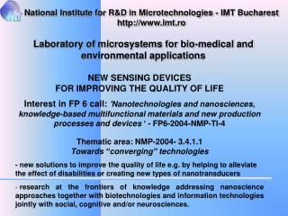 NEW SENSING DEVICES  FOR IMPROVING THE QUALITY OF LIFE