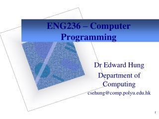 ENG236   Computer Programming