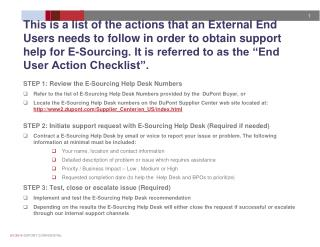 STEP 1: Review the E-Sourcing Help Desk Numbers