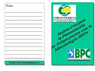Instructivo para la Presentaciòn de Subproyectos con la Metodologìa BPIN