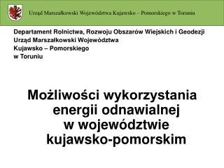 Departament Rolnictwa, Rozwoju Obszarów Wiejskich i Geodezji Urząd Marszałkowski Województwa