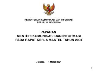 KEMENTERIAN KOMUNIKASI DAN INFORMASI REPUBLIK INDONESIA