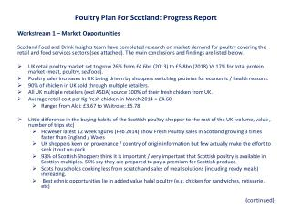 Poultry Plan For Scotland: Progress Report Workstream  1 – Market Opportunities