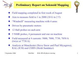 Preliminary Report on Solenoid Mapping