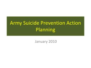 Army Suicide Prevention Action Planning