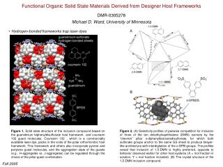 Functional Organic Solid State Materials Derived from Designer Host Frameworks DMR-0305278
