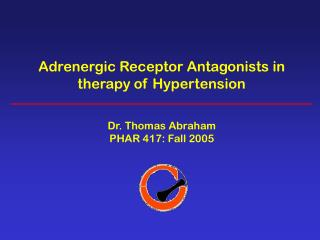 Adrenergic Receptor Antagonists in therapy of Hypertension