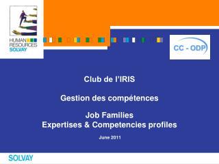 Club de l'IRIS Gestion des compétences Job Families  Expertises & Competencies profiles  June 2011