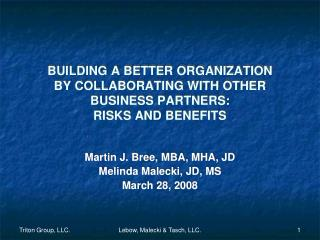 BUILDING A BETTER ORGANIZATION  BY COLLABORATING WITH OTHER BUSINESS PARTNERS: RISKS AND BENEFITS