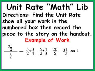 "Unit Rate ""Math"" Lib"