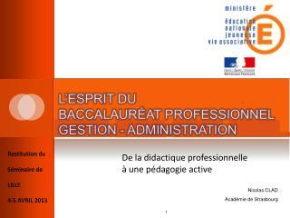 Restitution du Séminaire de LILLE  4-5 AVRIL 2013