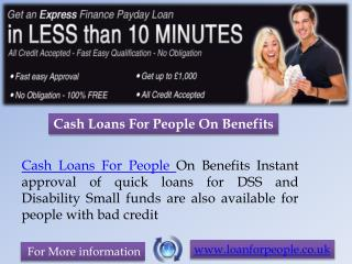 Cash Loans For People On Benefits