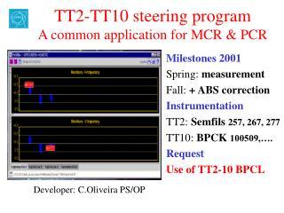 TT2-TT10 steering program A common application for MCR & PCR