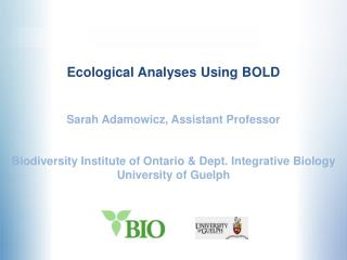 Ecological Analyses Using BOLD Sarah Adamowicz, Assistant Professor