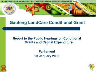 Gauteng LandCare Conditional Grant
