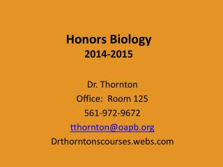 Honors Biology 2014-2015