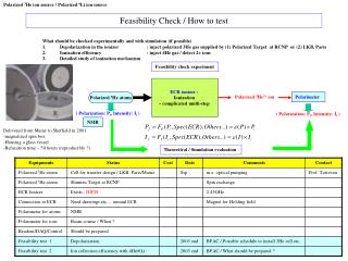 Feasibility Check / H ow to test