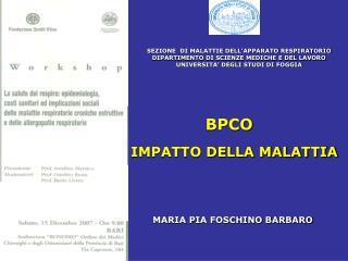SEZIONE  DI MALATTIE DELL'APPARATO RESPIRATORIO  DIPARTIMENTO DI SCIENZE MEDICHE E DEL LAVORO