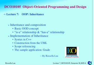 DCO10105  Object-Oriented Programming and Design