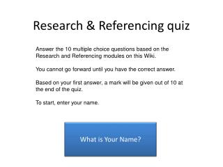 Research & Referencing quiz