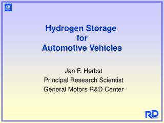 Hydrogen Storage  for  Automotive Vehicles